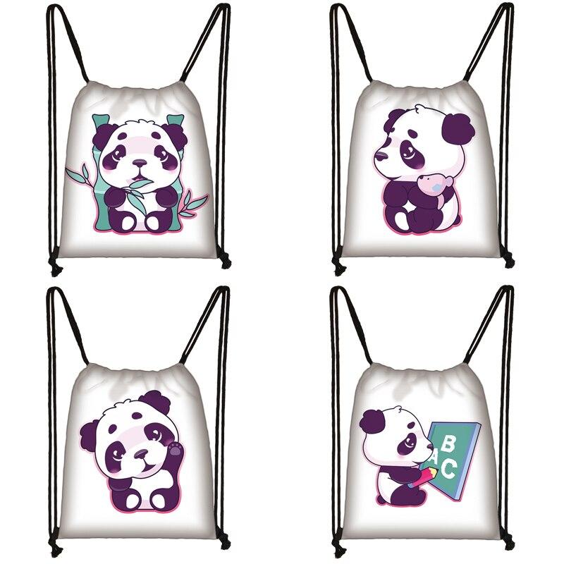 Cartoon Panda Print Drawstring Bag Women Travel Bag Teenager School Bag Brown Girl And Boy Backpack Fashion Female Storage Bags