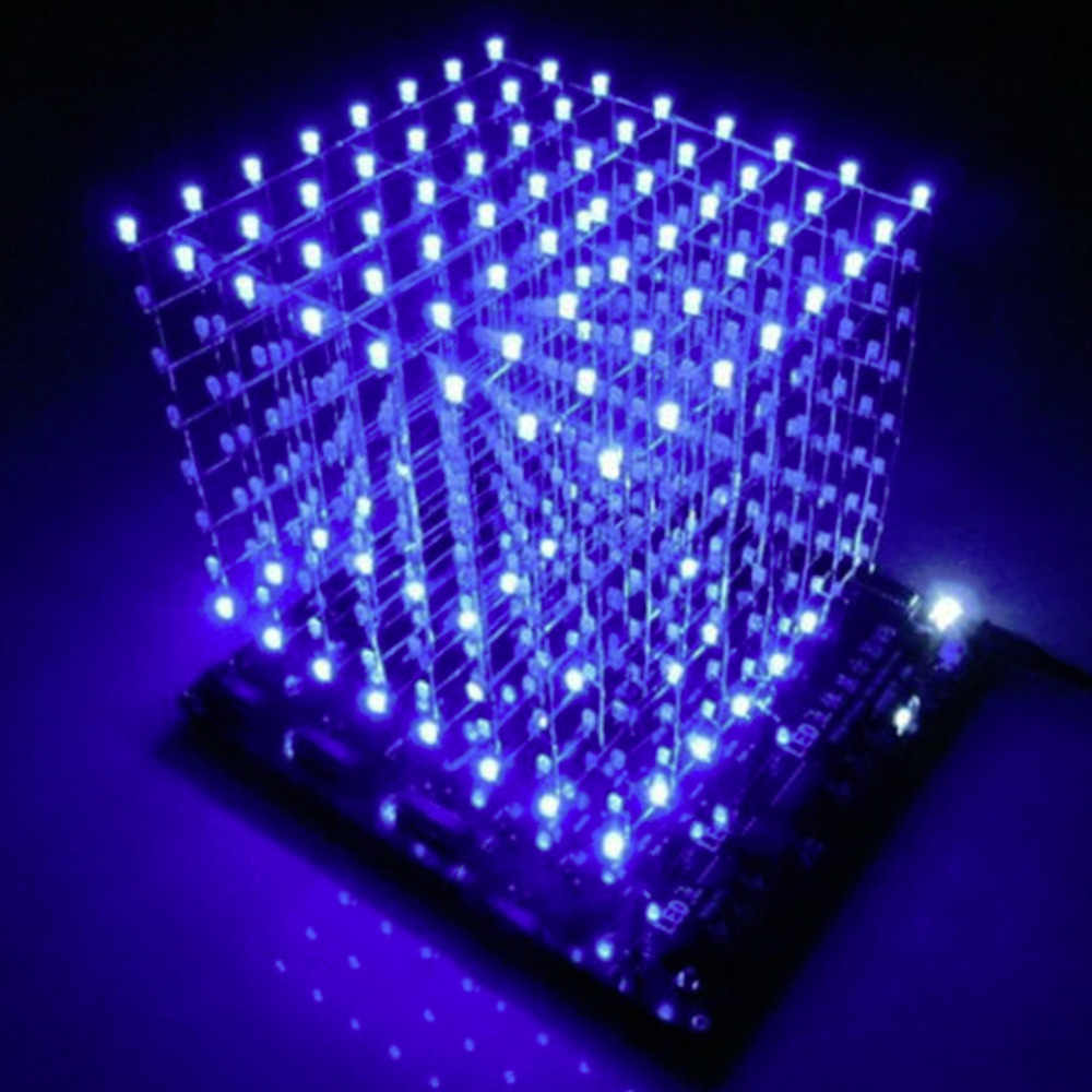 Hot Hot 3D Kuadrat DIY Kit 8X8X8 3 Mm LED Cube Putih LED Biru/Merah lampu Papan PCB