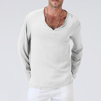 Men V Neck T Shirts Men Gothic Hippie Clothing Loose Male T Shirt Autumn Spring Full Sleeves Cotton Linen Long Sleeve T-Shirt