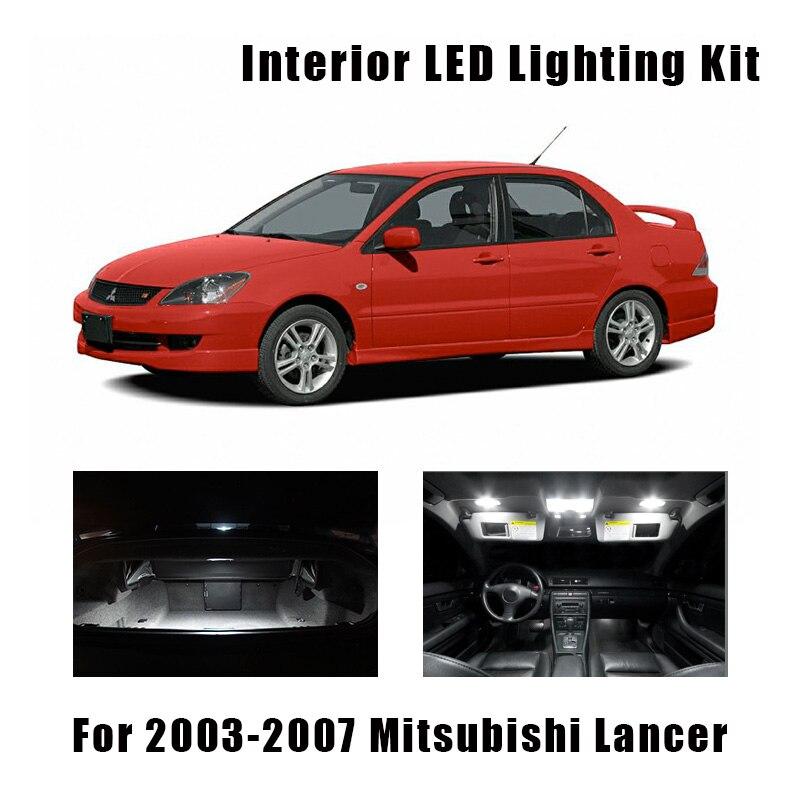 9pcs White LED Bulbs Interior Map Dome Trunk Light Kit For 2003 2004 2005 2006 2007 Mitsubishi Lancer License Plate Lamp