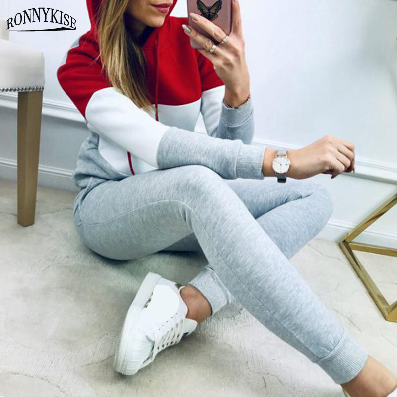 RONNYKISE Stitching Hooded Two Pieces Sets Womens Fashion Fleece Tops And Pencil Pants Solid Color Elastic Waist Long Pants