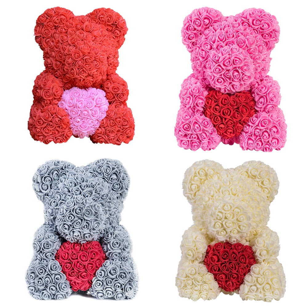 40*25*25 см розовый медведь плюшевые игрушки влюбленные день Святого Валентина девушка день рождения Рождественский подарок свадебный подарок искусственная Роза кукла