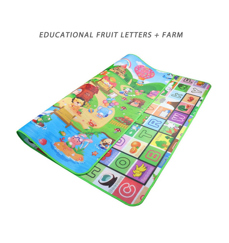 Hf34a27a3b6444855a9f88fec83d9749c0 Baby Play Mat 0.5cm Thick Foldable Crawling Mat Double Surface Baby Carpet Rug Cartoon Developing Mat for Children Game Playmat