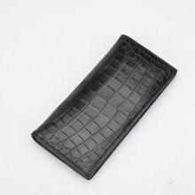 قطعة واحدة حقيقية جلد التمساح البطن رجال الأعمال الدعاوى مخلب المحفظة أصيلة التمساح الجلود بطانة الذكور بطاقة طويلة محفظة