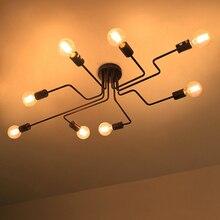 Lâmpada de teto vintage e27, múltiplas lâmpadas de teto em ferro forjado para sala de estar, luminárias para iluminação doméstica