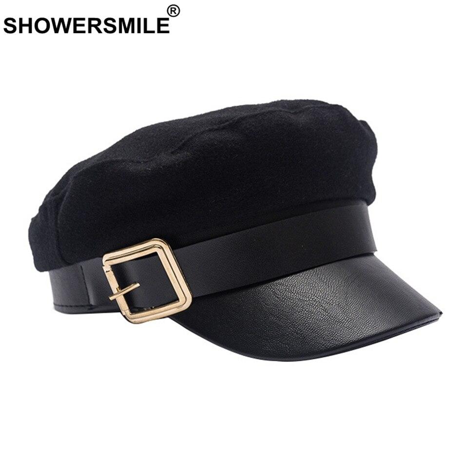 SHOWERSMILE Wool Newsboy Caps Winter Black Captain Hat Women Leather Flat Caps Ladies Elegant Classic British Baker Boy Cap 2019