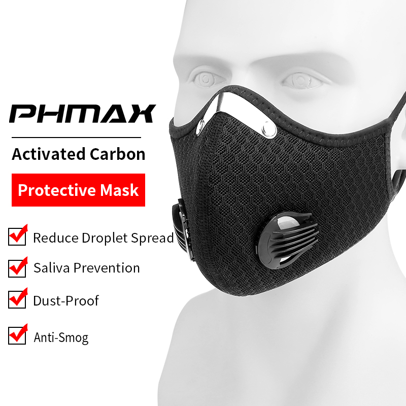 PHMAX Breathable Mesh Mask With Earloop KN95 Cycling Face Mask Sport Training Dustproof Cycling Mask Activated Carbon Filter