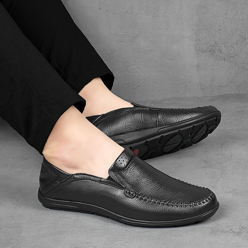 Men Casual Shoes Outdoor Luxury Brand Genuine Leather Mens Fashion Loafers Moccasins Comfy Breathable Slip On Driving Shoes A4