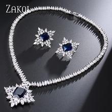 ZAKOL Classic Bridal Accessories Anniversary Shiny White Color Big Rectangle Cubic Zircon Jewelry Set FSSP241