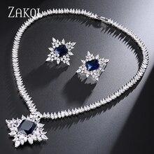 ZAKOL クラシックブライダルアクセサリー記念光沢のある白色ビッグ四角形キュービックジルコンのジュエリーセット FSSP241