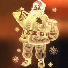 LED Suction Cup Light 3D Door and Window Santa Claus Elk Bells Christmas Lights LED String Lights Snowflake New Year Economic
