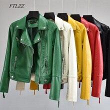 FTLZZ Women Autumn Pu Faux Soft Leather Motorcycle Zipper Jacket Coat Female Turndown Collar Slim Biker Coats Basic Streetwear