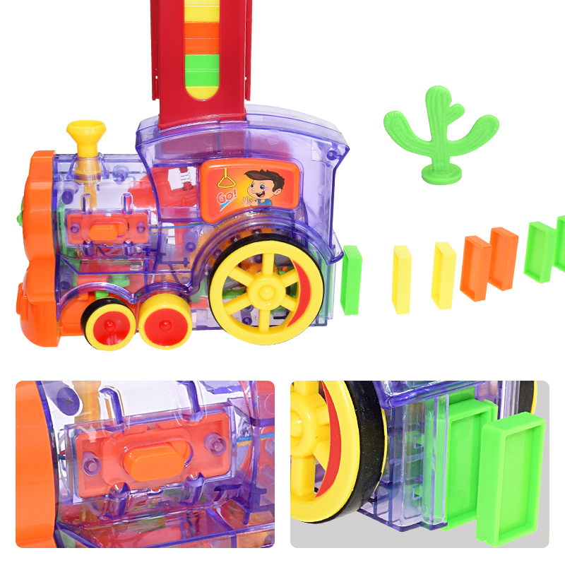 Automatic Laying Domino Brick Train Car Set Sound Light Kids Colorful Plastic Dominoes Blocks Game Toys Set Gift For Girl Boys