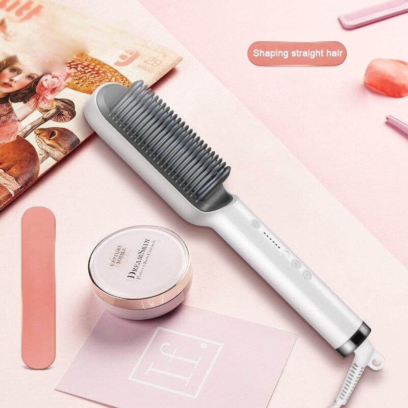New PTC heating Hair Straightener Brush Hair Electric Hair Comb Brush Ceramic Straight Curler styling tool(China)