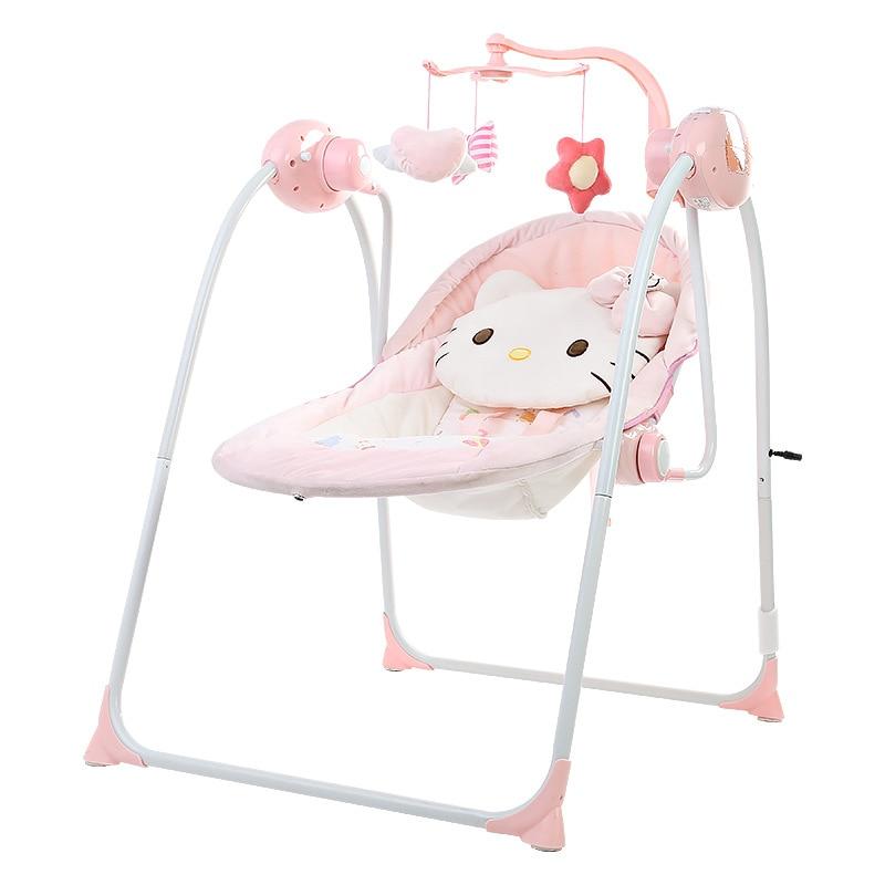 Kitty chat bébé chaise à bascule électrique télécommande automatique rose chaise métallique électrique bébé balançoires chaises bébé lit hamac