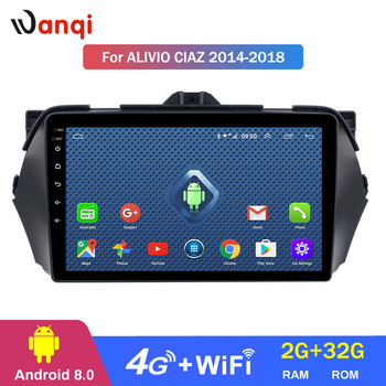 Wanqi Android 8.0 2+32G  wifi and 4G 2.5D 9 inch full touch screen for SUZUKI Alivio/CIAZ 2014-2018  gps navigation player