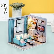 цена Toys For Children Kit DIY Doll House Wooden Doll Houses Miniature Dollhouse Furniture For Children Christmas Gift Casa De Boneca онлайн в 2017 году