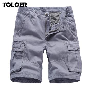 Moda marka męskie szorty bojówki nowe letnie męskie bawełniane krótkie męskie spodenki z kieszeniami na narzędzia wysokiej jakości męskie dorywczo do kolan krótkie spodnie tanie i dobre opinie TOLOER Na co dzień JKS2811 COTTON Poliester Kolano długość Przycisk fly Stałe REGULAR Kieszenie Shorts