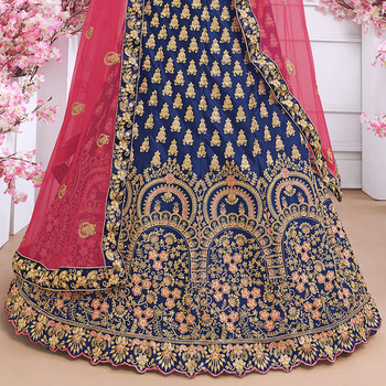 Luxurious Indian Dress Lehenga Choli India for Women Wedding Silk Floss Embroidery Pakistani Clothing Vestido Indiano Royal Blue