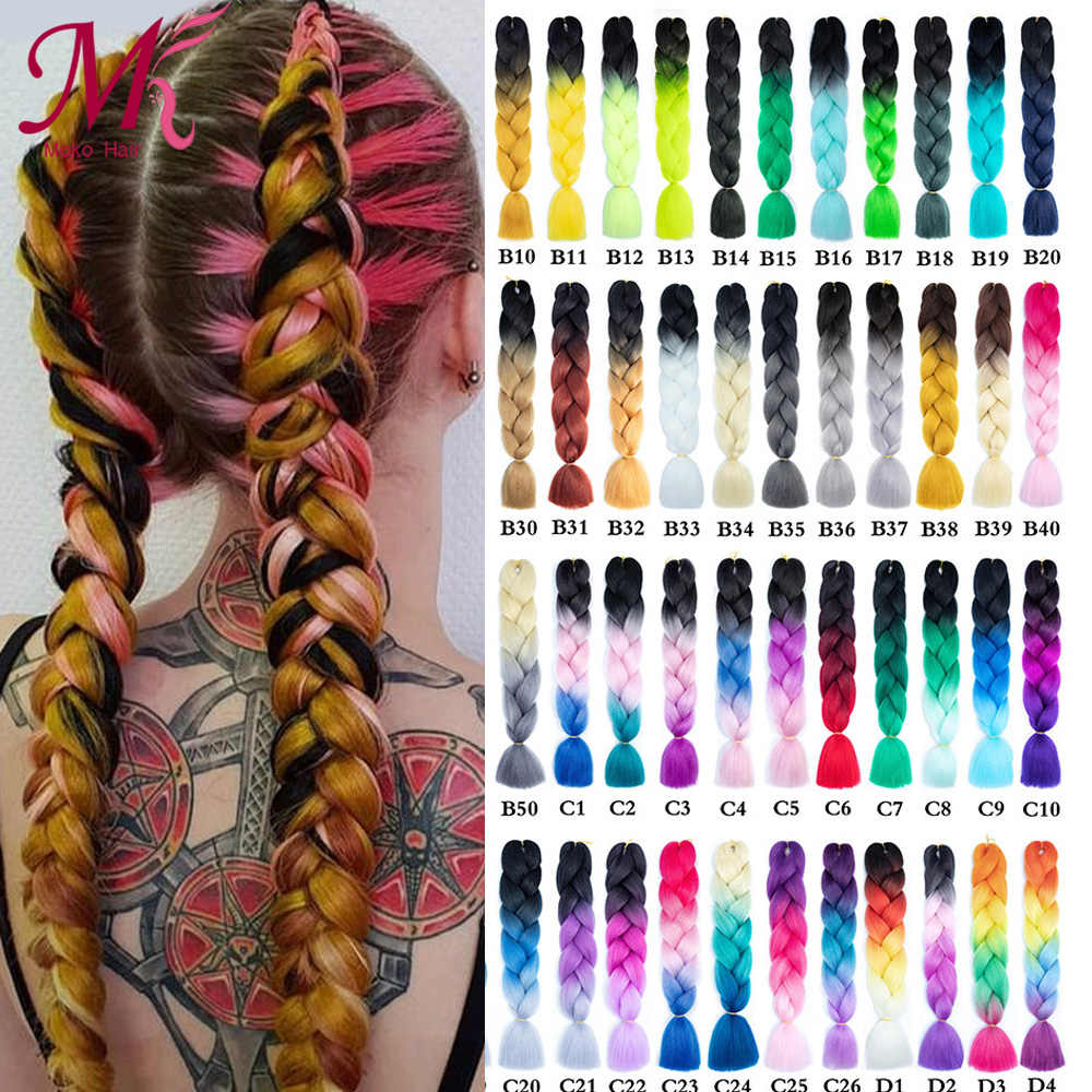 Moko 24inch Long Jumbo Braid Crochet Braid kanekalon hair Synthetic Ombre Braiding Hair Extensions for Woman Blonde Pink Green