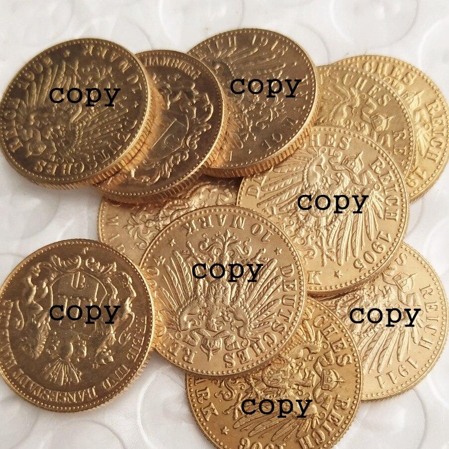 Германия, 10 знаков (1902-1913), 11 шт, дата на выбор, позолоченные копировальные монеты