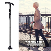 Folding Cane Sticks Telescopic Lightweight Trusty Collapsible Elder Walking LED for The