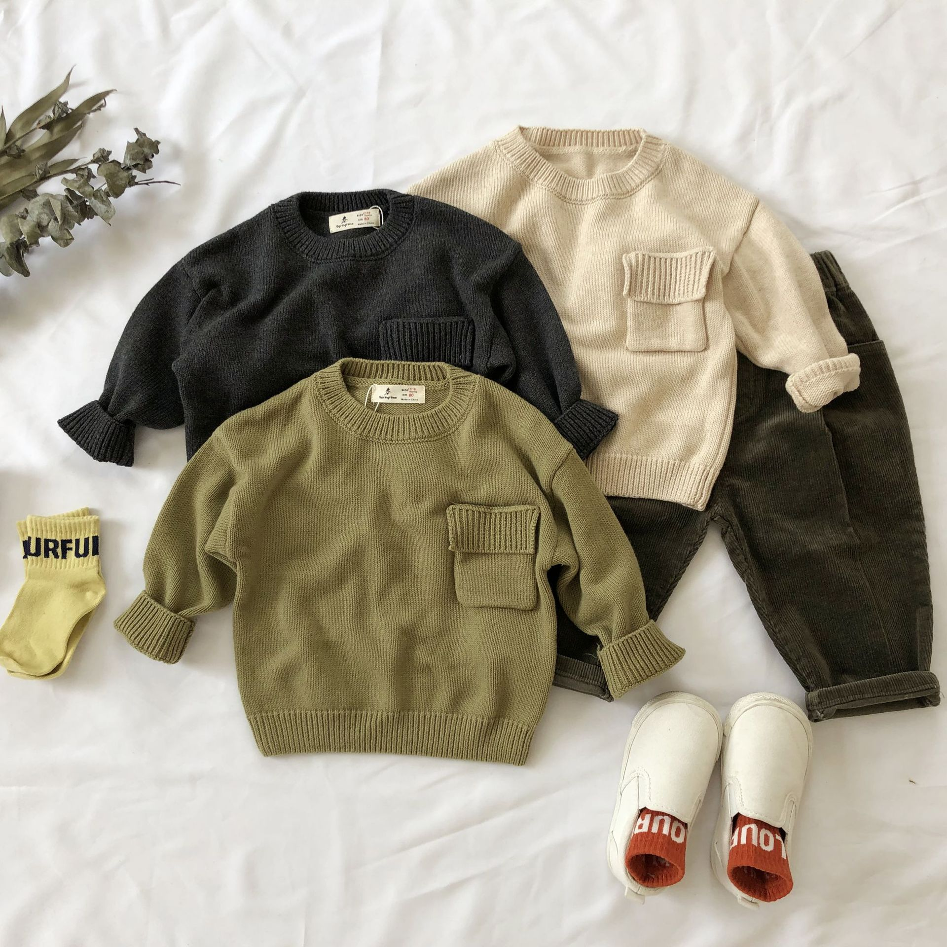 fall 2019 baby boys girls sweater children winter sweaters toddler boys pullover casual pocket sweater for kids 1 2 3 4 5 6 yrs