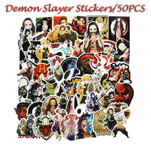 50Pcs Demon Slayer Japanese Cartoon Stickers Luggage Trolley Case Notebook Phone Sticker Ghost Blade TZ050G