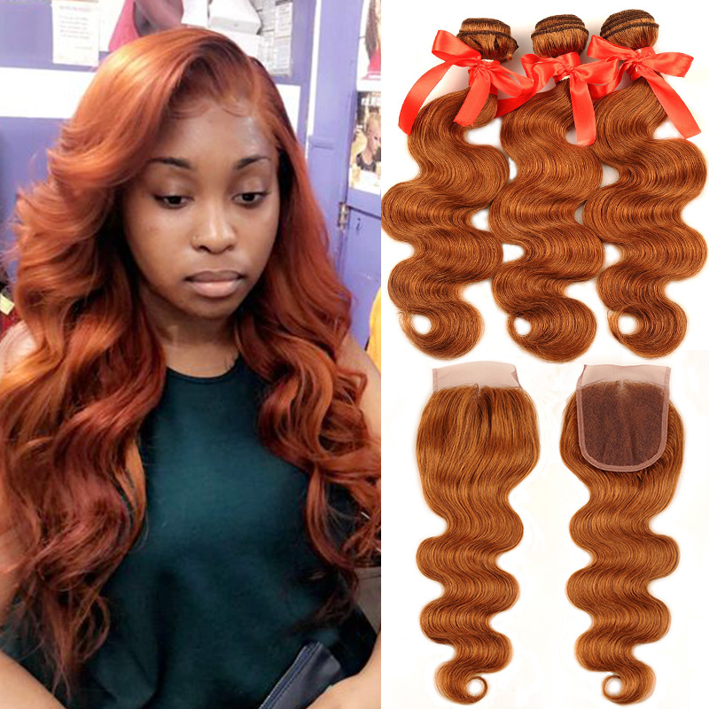 Pinshair Hair Colored 30 Honey Blonde Bundles With Closure Body Wave Peruvian Human Hair 3 Bundles With Closure Non-remy No Shed