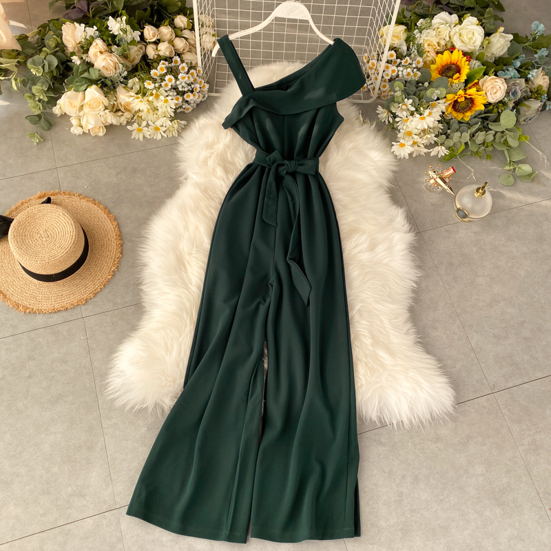 Fashion Ruffles One Shoulder Sexy Summer Full Length Bandage Jumpsuit Casual Spaghetti Strap Women Playsuit Beach Tie Romper