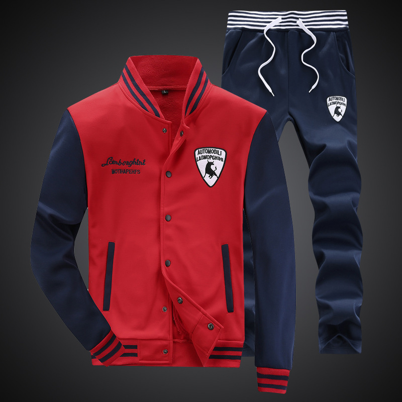 Spring And Autumn Men Korean-style Leisure Sports Suit Men's Baseball Uniform Long-sleeved Coat Two-Piece Set Men'S Wear