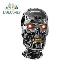 EARLFAMILY 13cm x 6.9cm for Terminator Head Fine SUV Car Stickers Waterproof Scratch-proof Sticker Bumper Decoration DIY Decal