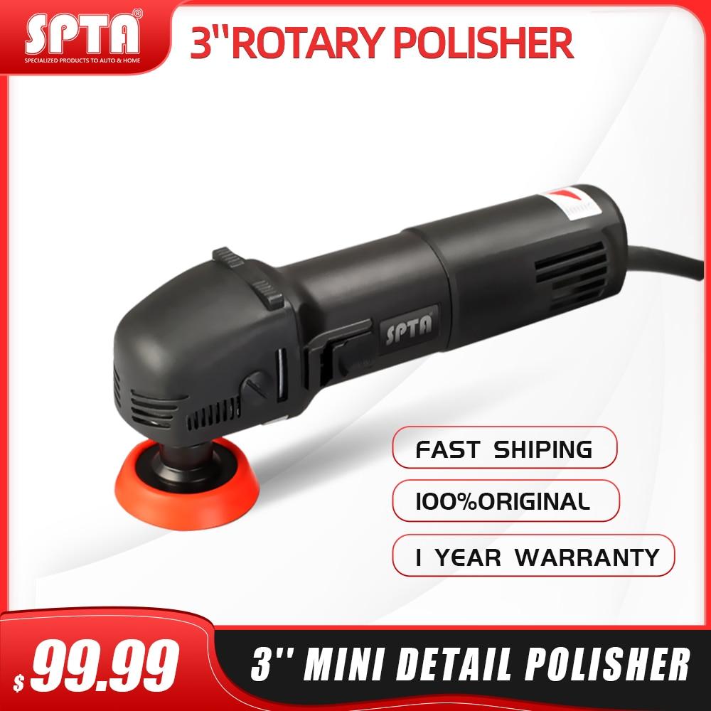 SPTA Mini Polishing Machine Buffer Rotary Polisher Auto Detailing Superpolish with 27Pcs Detail Polishing Pad Mix Size Kit Buffing Pad and 75mm,100mm,140mm M14 Thread Extension Shaft