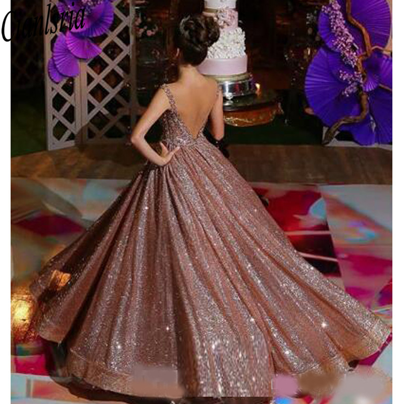 Alexjcavanaught Modern Rose Gold African Reflective Quinceanera Dresses Beaded Crystals Backless Sequined Prom Gowns Sparkly Formal Party Dress
