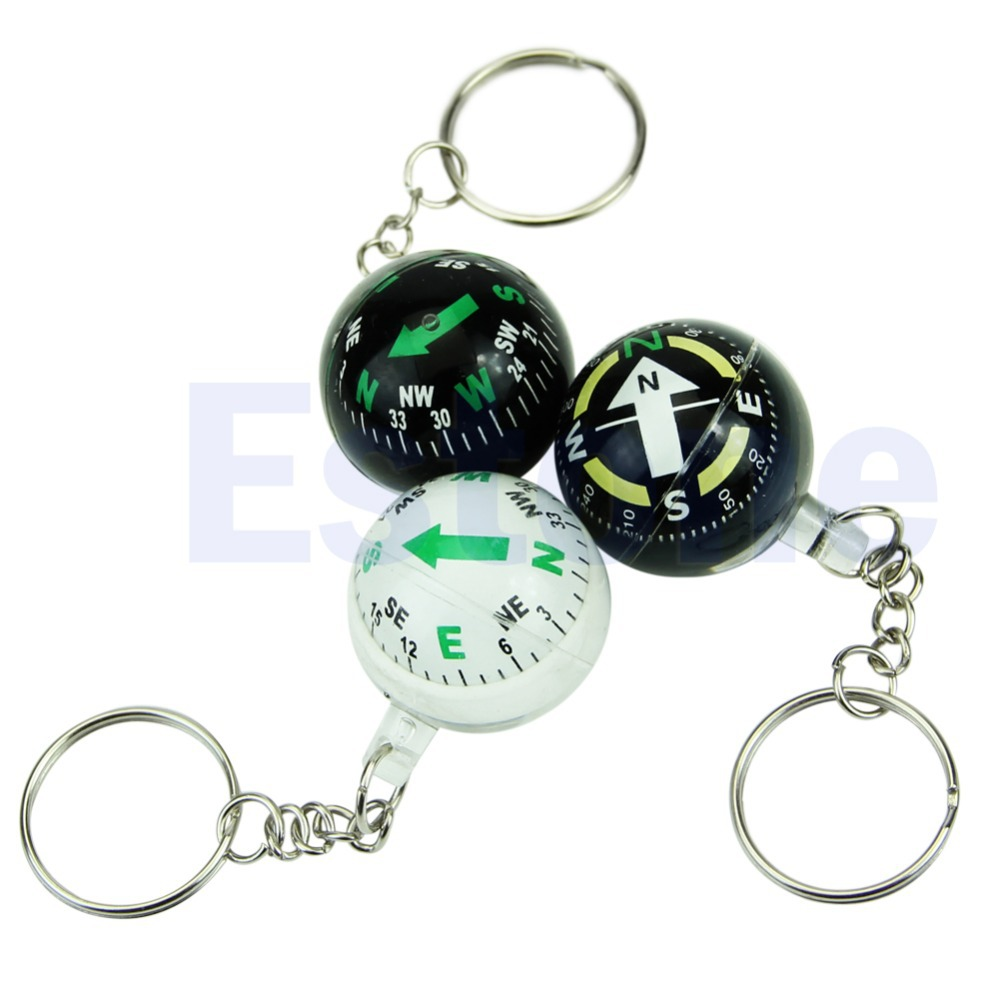 Ball Keychain Liquid Filled Compass For Hiking Camping Travel Outdoor Survival