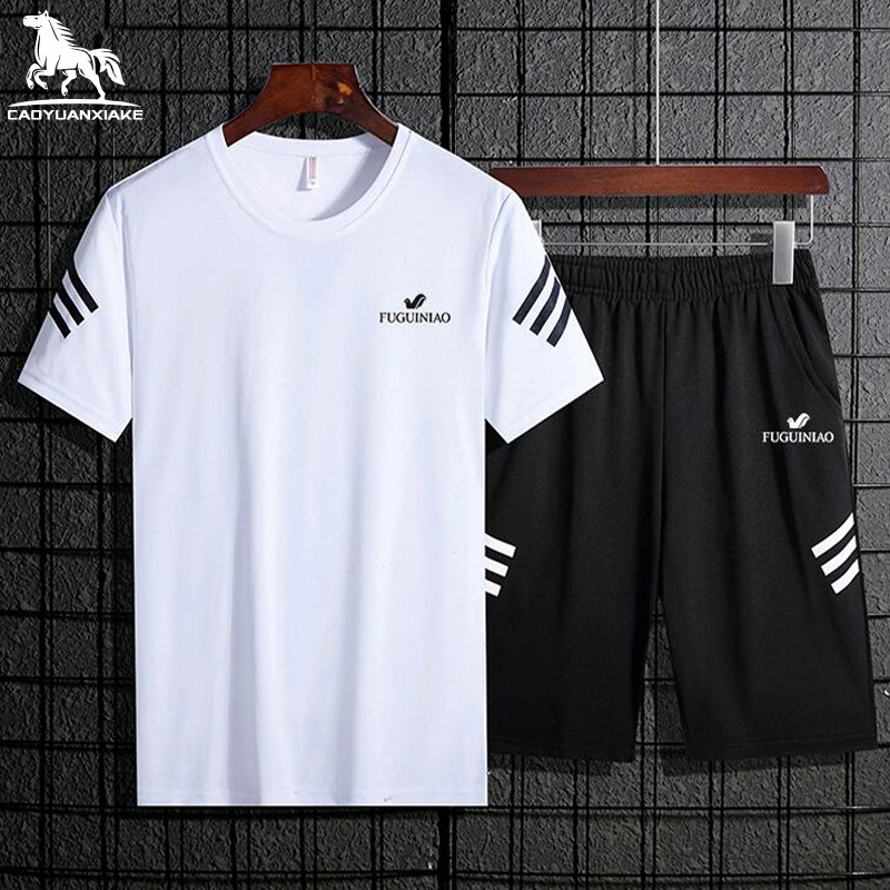 Casual Men Tracksuit Summer New Men's Clothing Fitness Set Tracksuits Short Sleeve T-shirt + Shorts 2-Piece Quick-Drying Set 907