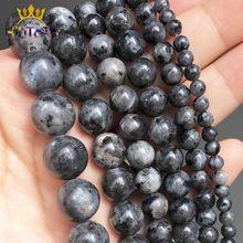 Cuentas de piedra Natural de larvikita labradorita, cuentas sueltas redondas de color negro para fabricación de joyas, accesorios de pulsera, 15