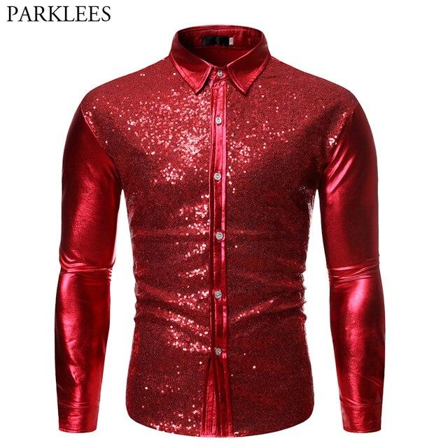 גברים של מתכתי מבריק אדום נצנצים דיסקו חולצה 2019 מותג ארוך שרוול חתונה מסיבת נצנצים חולצות ריקוד נשף Clubwear תלבושות S XL