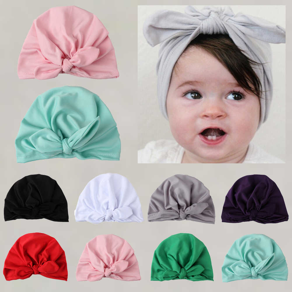 Newborn Baby Girls Infant Solid Soft Hat Bow Cap Hospital Beanie headband Winter
