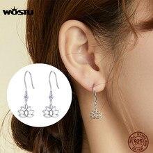 WOSTU – boucles d'oreilles en forme de fleur de Lotus pour femmes, en argent Sterling 925, Zircon brillant, à la mode, bijoux originaux, CTE451