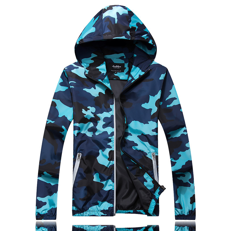 Men's Hooded Windbreaker Coat Male Outwear Mens Casual Camouflage Hoodie Baseball Jacket New Autumn  Hip Hop Print Print Clothes
