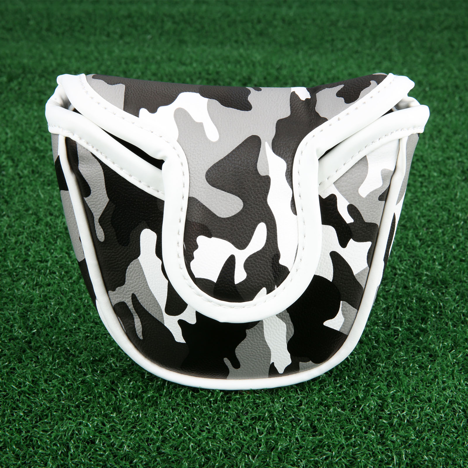 1Pc Golf Putter Putting Headcover Magnetic Buckle Mallet Putter Cover Bag PU Leather Camouflage Pattern Golf Club Heads Covers