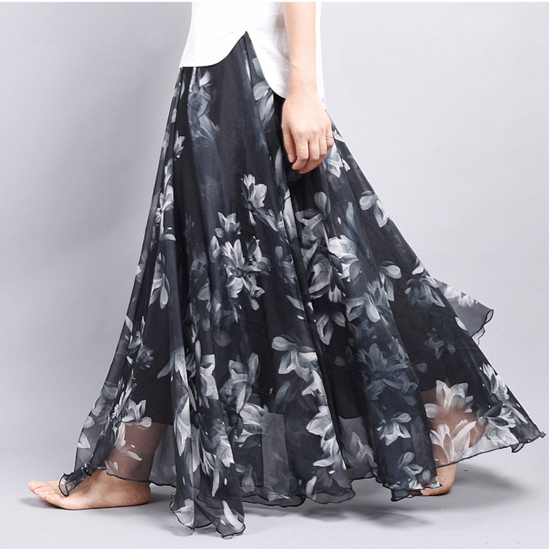 Brand Long Skirt Print Light Fabric Chiffon Summer Clothes Saia Beach Bohemian Maxi Skirts Women High Waist Casual Vestidos Sexy