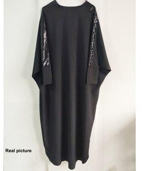 Plus Size Islamic Clothing Muslim Dress Women Dubai Turkish Long Robe Kimono Sequin Ethnic Style