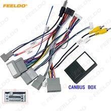 Feeldo carro 16pin cablagem de áudio com caixa canbus para honda crv 2.4l estéreo instalação fio adaptador # hq6827