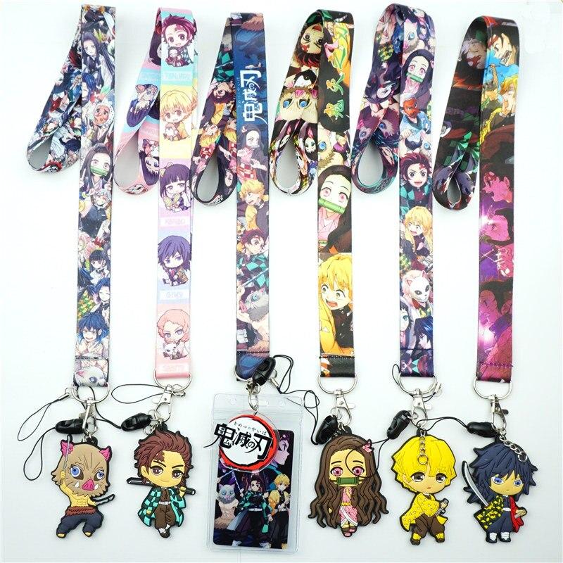 Anime Demon Slayer Kimetsu No Yaiba Neck Strap Lanyard for Keys USB ID Card Badge Holder Mobile Phone Straps Webbing Necklace L7