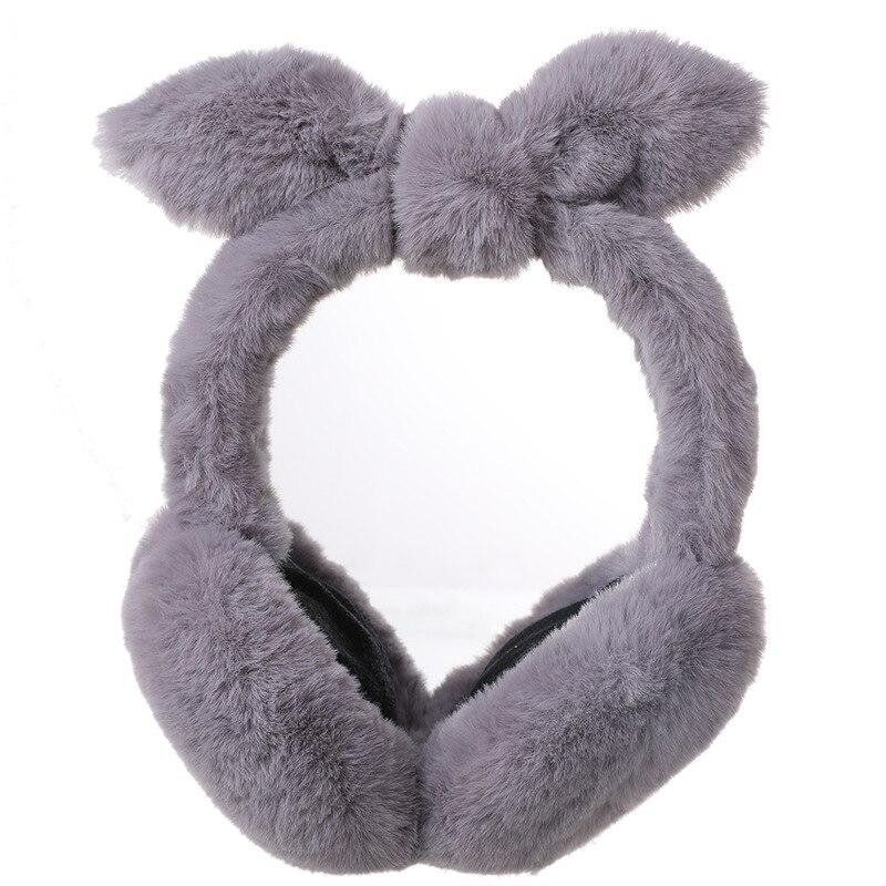 Cute Rabbit Ears Plush Earmuffs For Women Winter Pure Color Ear Warm Folding Bow Ear Cover Fashion Thickening Students Ear Muffs