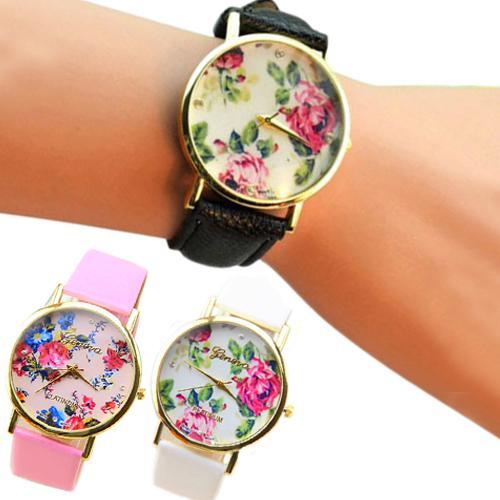 Fashion Watch Women Fashion Faux Leather Band Rose Flower Dial Wristwatch Quartz Lady Watch For Woman Montre Femme 2019