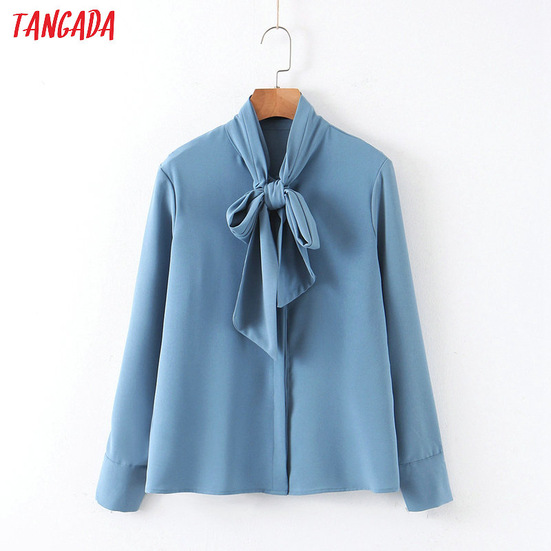 Tangada Women Vintage Blue Blouse Bow Neck Long Sleeve Chic Office Lady Shirt Blusas Femininas QB113