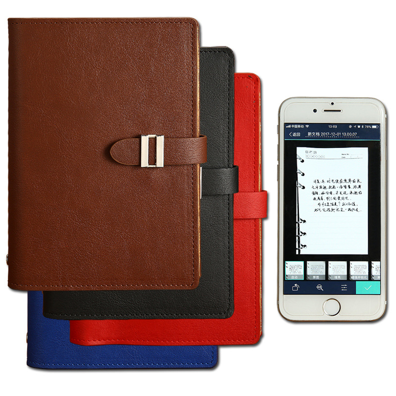 Leather PU Smart Reusable Erasable Notebook Smart Wirebound Notebook Cloud Erase Notepad Note Pad Lined With Pen App Connection
